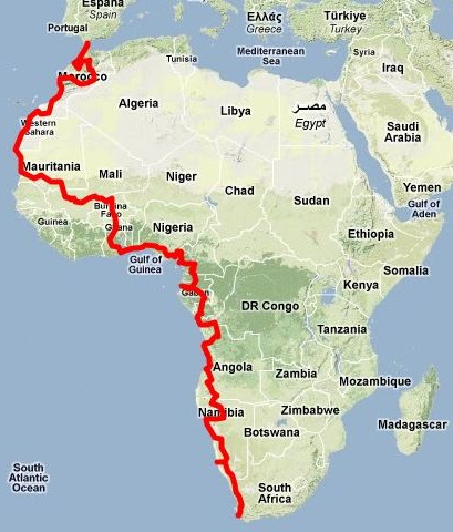 journey gibraltar to cape town on the map